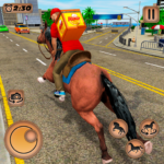Mounted Horse Riding Pizza Guy Food Delivery Game 1.0.2 MOD Unlimited Money